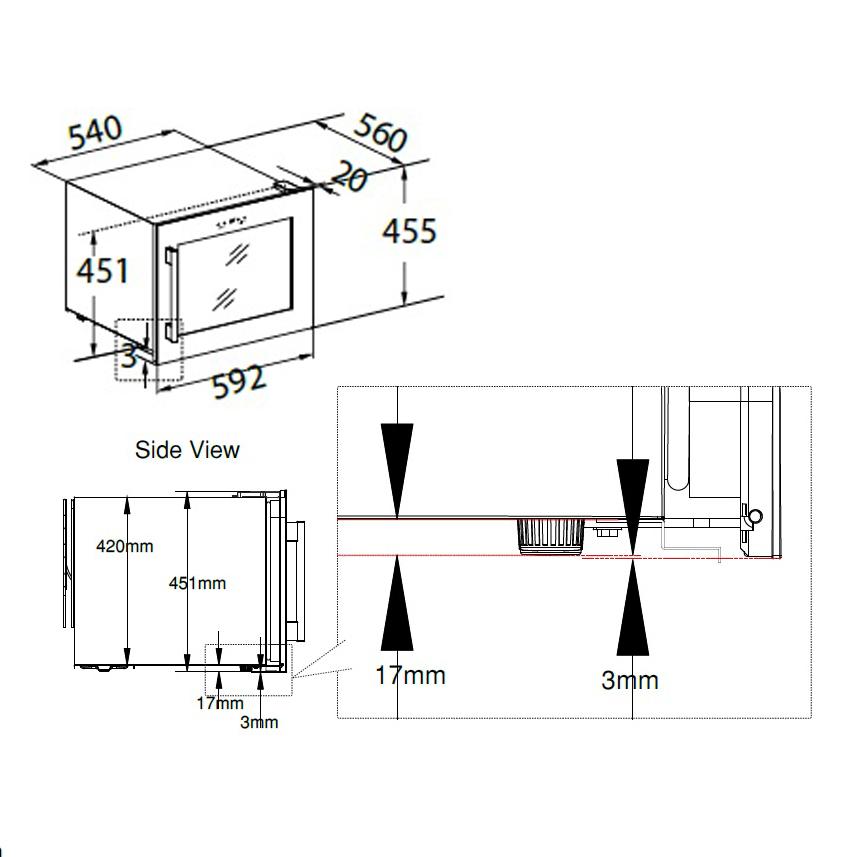 Схема стройки винного шкафа в нишу
