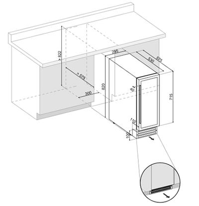 винный шкаф встраиваемый под столешницу схема