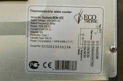винный холодильник Ecotronic WCM 16TE паспортная табличка
